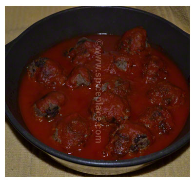 Cooked Spatini Beef Meatballs in Casserole