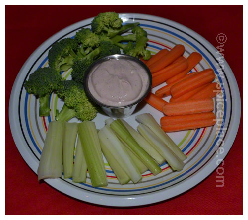 Serving of Spatini Dip Italiano with Veggies