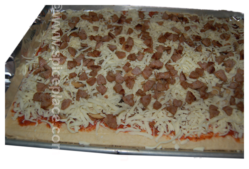 Prepared Spatini Pizza, Ready for Oven